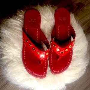 STUART WEITZMAN red thong sandals Sz 8.5